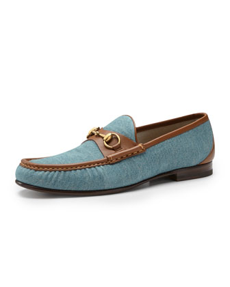 Roos 1953 Denim Horsebit Loafer, Blue