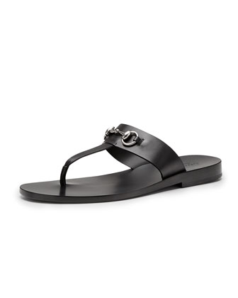 Leather Horsebit Thong Sandal, Black