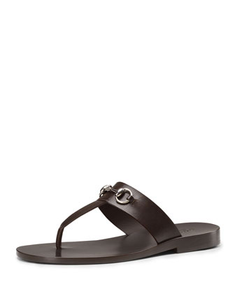 Leather Horsebit Thong Sandal, Brown