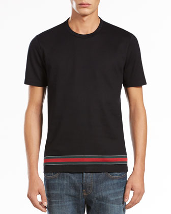 Web-Detail Crewneck Tee, Black