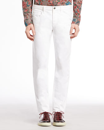 Skinny Denim Pants, White