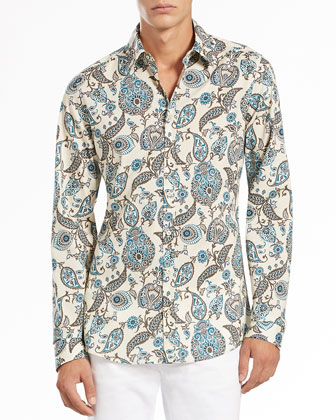 Macro-Paisley-Print Shirt, Tan/Green