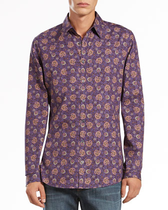 Paisley-Print Long-Sleeve Shirt, Purple