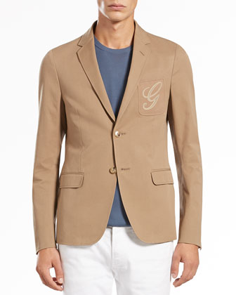 Cotton-Gabardine Two-Button Jacket, Tan