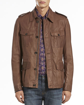 Leather Safari Jacket, Brown