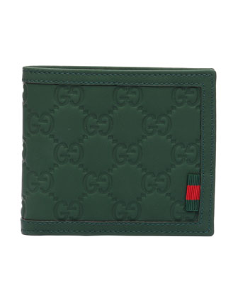 Rubber Guccissima Leather Wallet, Green