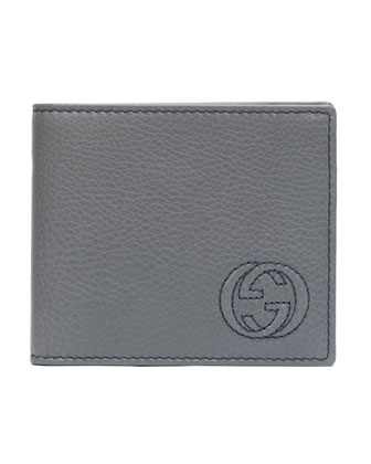 Soho Leather Wallet, Silver