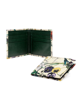 Floral-Print Leather Wallet