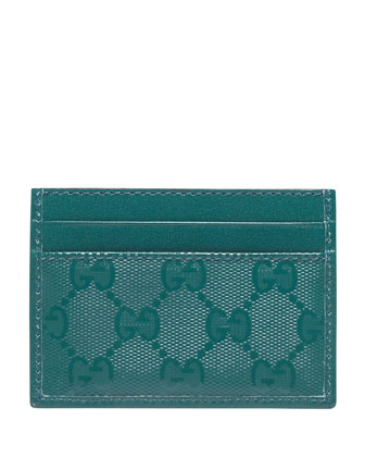 GG Imprime Leather Card Case, Turquoise