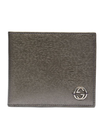 Metallic Leather Bi-Fold Wallet, Platinum