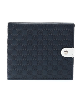 Microguccissima Leather Bi-Fold Wallet, Navy