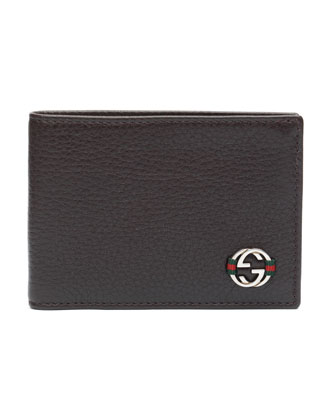 Ace Leather Mini Bi-Fold Wallet, Brown