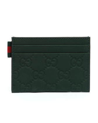Rubber Guccissima Leather Card Case, Olive
