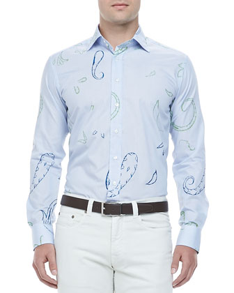 Large Paisley Sport Shirt, Blue