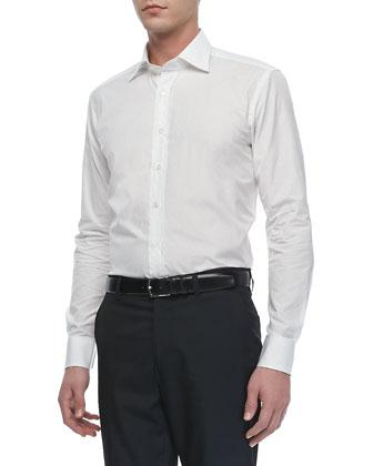 Tonal-Jacquard Sport Shirt, White