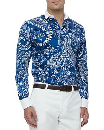 Banker's Collar Paisley-Print Sport Shirt, Blue