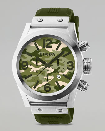 Stainless Steel Chronograph Watch, Camouflage