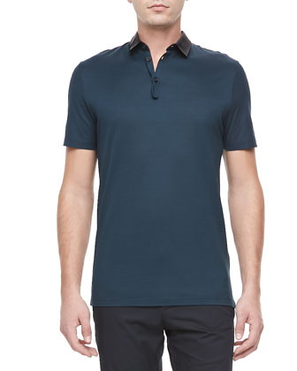 Grosgrain-Collar Short-Sleeve Polo, Green