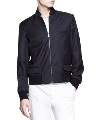 Reversible Zip Blouson Coat, Navy