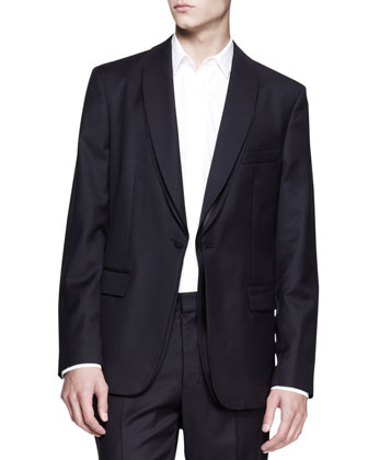 Layered Evening Jacket, Dark Navy