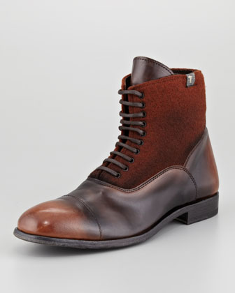 Leather & Wool Lace-Up Boot, Brown