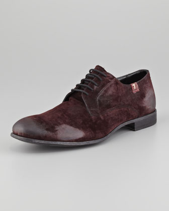 Distressed Velvet Lace-Up, Burgundy