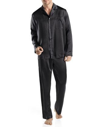 Men's Silk Two-Piece Pajama Set, Black