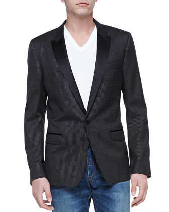 Martini Peak-Lapel Jacket & Basic V-Neck Tee & Medium Blue Rinse Denim ...