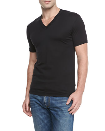 Basic V-Neck T-Shirt, Black