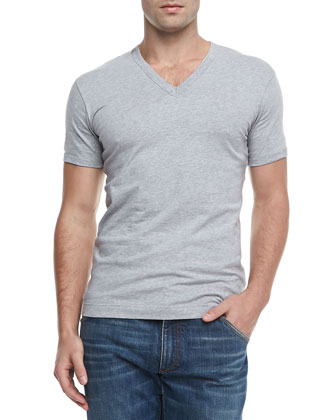 Basic V-Neck T-Shirt, Gray