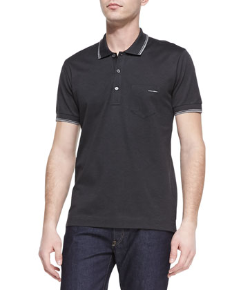 Tipped Jersey-Knit Polo, Charcoal