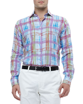 Gingham Linen Shirt with Multicolored Plaid