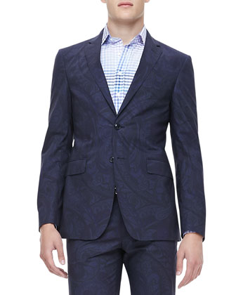 Cotton Paisley-Print Blazer, Navy