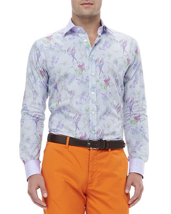 Micro-Check Bird-Print Jacquard Shirt, Multi