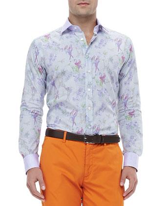Micro-Check Bird-Print Jacquard Shirt, Multi