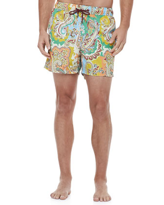Paisley-Print Swim Trunks, Blue/Green