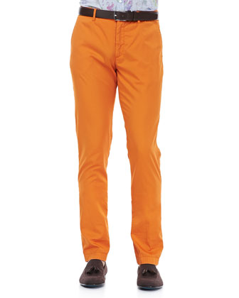 Cotton-Gabardine Pants, Orange