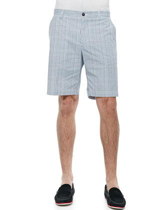 Small-Plaid Shorts, Blue