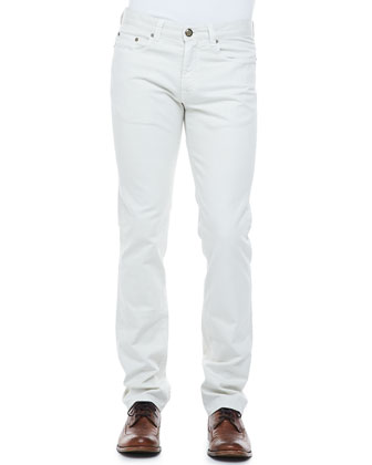 Five-Pocket Stretch Denim Jeans, Bone