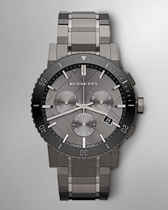 Men's Check-Dial Chronograph Watch, Gunmetal