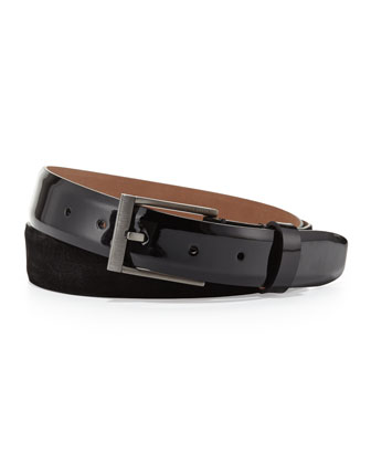 Men's Patent and Suede Belt, Black