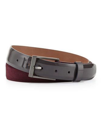 Men's Suede/Patent Leather Belt, Bordeaux/Gray