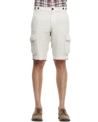 Quilted Nylon Vest, Plaid Linen Shirt & Linen Cargo Bermuda Shorts