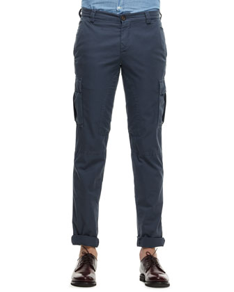 Cotton Cargo Pants, Navy