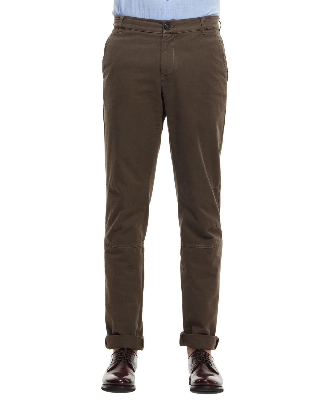 Mens Cotton Avio Pants, Brown   Brunello Cucinelli   Brown (52)
