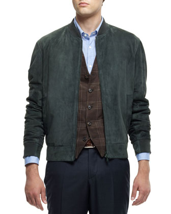 Suede Bomber Jacket, Linen-Blend Plaid Waistcoat, Washed Solid Long-Sleeve ...