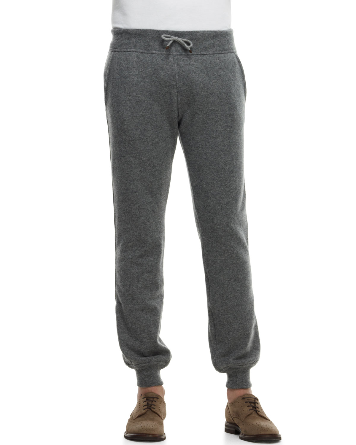 Mens Cashmere Cuffed Track Pants   Brunello Cucinelli   Mdgrey (XL/54)