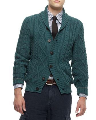 Buttoned Shawl-Collar Cardigan, Green