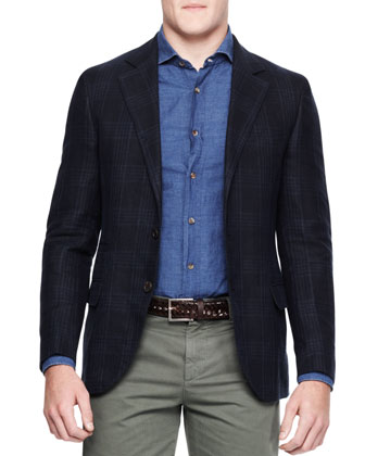 Linen-Blend Tonal Plaid Notched-Lapel Jacket