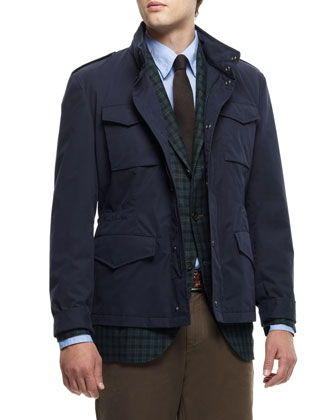 Brushed Cotton Safari Jacket, Navy